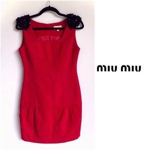 Miu Miu Red Corduroy Dress with Black Sequence
